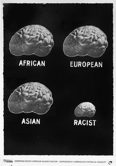 European Youth Campaign against Racism Brain of a racist poster c 1990 Copyright W840 - Dossier : Le meilleur de la Rédaction Publicitaire